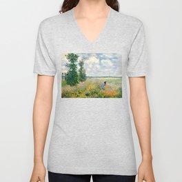 Poppy Fields near Argenteuil by Claude Monet Unisex V-Neck