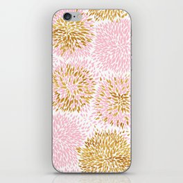 Abstract flowers pink and gold iPhone Skin