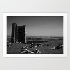 Castle Ruins, black&white Art Print