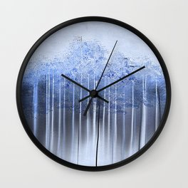 Shredded Abstract in Blue Wall Clock