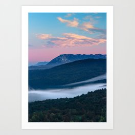 Beautiful sunrise view on Nanos from Šilentabor, Slovenia Art Print