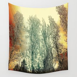 Autumn Poplars, Sunlight Dreaming About You Wall Tapestry