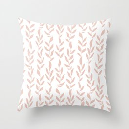 Blush Pink Minimalist Leaves Pattern Throw Pillow