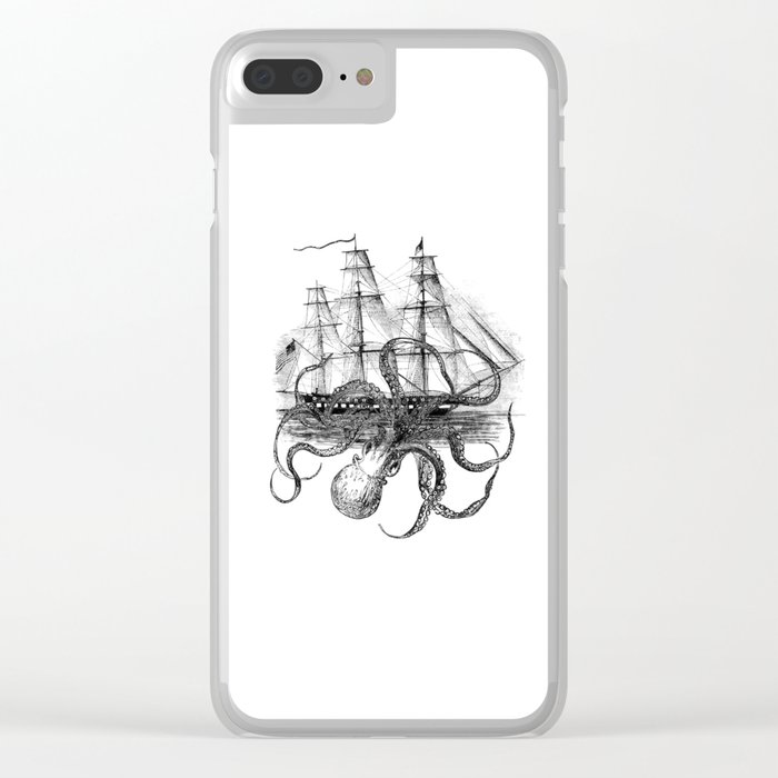 Octopus Kraken attacking Ship Antique Almanac Paper Clear iPhone Case