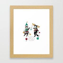 Christmas Party Cat Framed Art Print