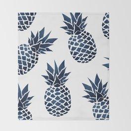 Pineapple Blue Denim Throw Blanket