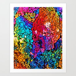 Colorful Rainbow Colored Cracked Mosaic Glass Art Print