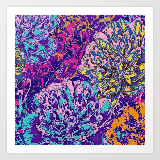 Very colorful abstract flowers Art Print