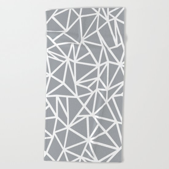 Abstract Outline Thick White on Grey Beach Towel