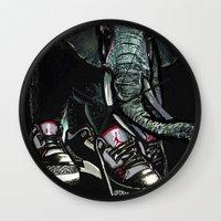 sneaker Wall Clocks featuring SNEAKER ELEPHANT by Juan Diaz