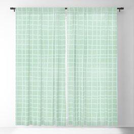 Light Blue Grid Pattern Blackout Curtain