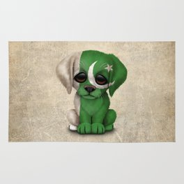Cute Puppy Dog with flag of Pakistan Rug