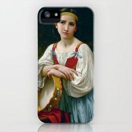 """William-Adolphe Bouguereau """"Bohémienne au tambour de basque"""" iPhone Case"""