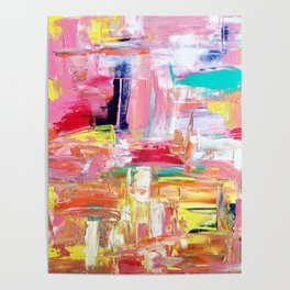 Contemporary Palette Knife Abstract Plaid 4 Poster