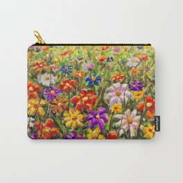 BUY PAINTING SUMMER FLORAL MULTICOLORED FLOWER FIELD - ORIGINAL OIL PAINTING Carry-All Pouch