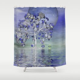 full moon in a world of glass Shower Curtain
