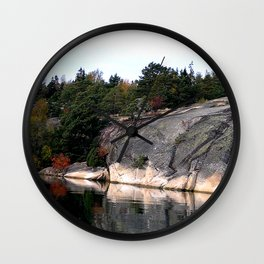 Fall Colors Accentuating Cliff Reflections Wall Clock