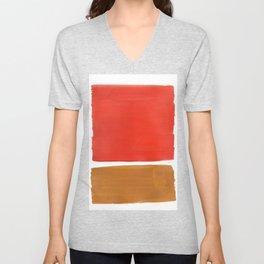 Minimalist Mid Century Modern Colorful Color Field Rothko Orange Yellow Ochre Unisex V-Neck