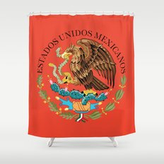 Close up of the Seal from the National flag of Mexico on Adobe red background Shower Curtain