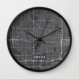 Omaha Map, USA - Gray  Wall Clock