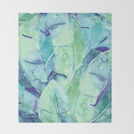 Banana Tree Leaves   Tropical  BLUE Watercolor Throw Blanket