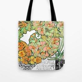 Romance in Paris, Art Nouveau Floral Nostalgia Tote Bag