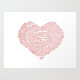 I Love You (Languages of Love Heart) Art Print