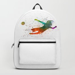 Woman soccer player 14 in watercolor Backpack