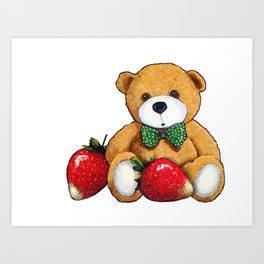 Teddy Bear With Strawberries, Illustration Art Print