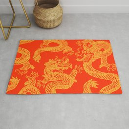 Red and Gold Battling Dragons Rug