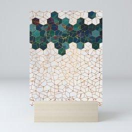 Teal and Cream Organic Hexagons Mini Art Print