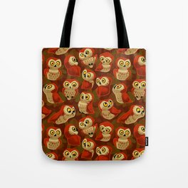 Northern Saw-whet owls pattern. Tote Bag