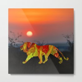 Marble Animals - Lion Metal Print