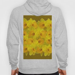 Olive Colored Golden Daffodile Floral Abundance Hoody