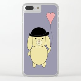 Yellow Dog in Bowler Hat with Heart Balloon Clear iPhone Case