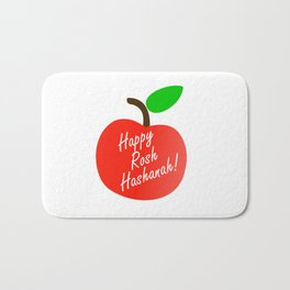 Rosh Hashanah inside an red apple or Jewish Near year greetings Bath Mat