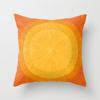 pulp Throw Pillows featuring Pulp Saffron by Anchobee