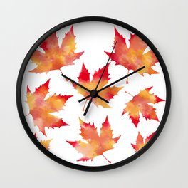 Maple leaves white Wall Clock