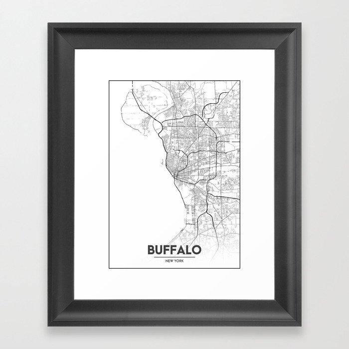 Minimal City Maps - Map Of Buffalo, New York, United States Gerahmter Kunstdruck