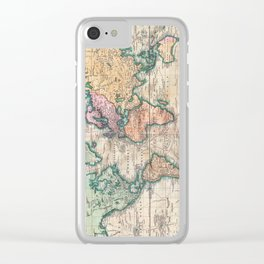 Vintage World Map 1801 Clear iPhone Case
