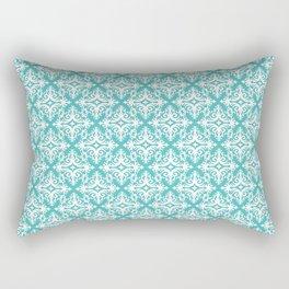 Damask (White & Teal Pattern) Rectangular Pillow