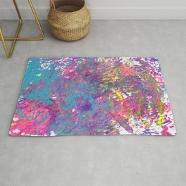 Bold Rainbow Paint Splatter with Lisa Frank Colors Rug