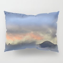 """""""Sunrise at the mountains"""". Birds in the morning. Pillow Sham"""