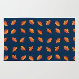 Fall Night - Leaf pattern on navy background Rug