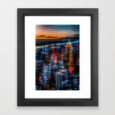 New York - the night awakes (orange) Framed Art Print