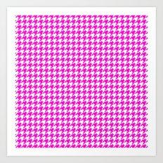 Friendly Houndstooth Pattern, pink Art Print
