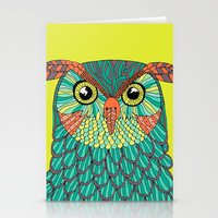 lime green Stationery Cards featuring owl - Lime green by bluebutton studio