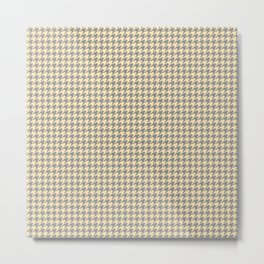 Grey Beige Houndstooth Pattern Metal Print