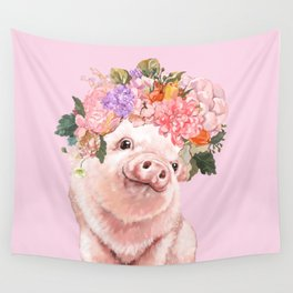 Baby Pig with Flowers Crown Wall Tapestry