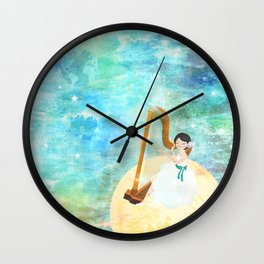 Harp girl: Music from the moon Wall Clock